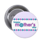 Mother's Day Purple Spring Flowers Button