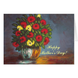 Mother's Day Red Yellow Flowers Vase Painting Card