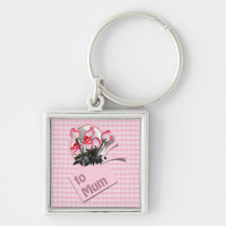 Mother s Day Roses For Mum on Checkered Pink Keychains