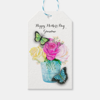 Mother's Day Spring Roses in Vase with Butterflies Gift Tags