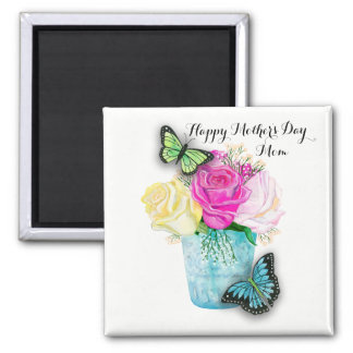 Mother's Day Spring Roses in Vase with Butterflies Magnet