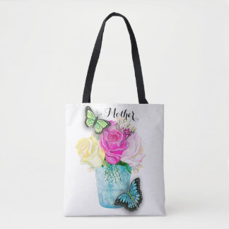 Mother's Day Spring Roses in Vase with Butterflies Tote Bag