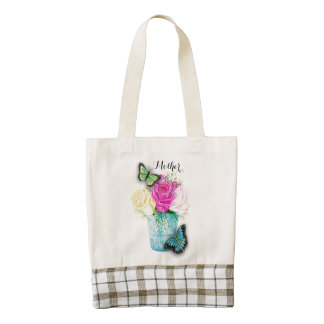 Mother's Day Spring Roses in Vase with Butterflies Zazzle HEART Tote Bag