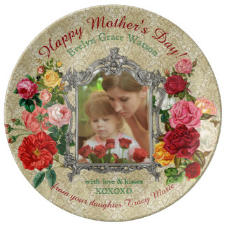 Mother's Day Sweet Roses Fancy Baroque Photo Frame Plate
