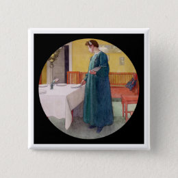 Mother Setting Table for a Meal Pinback Button