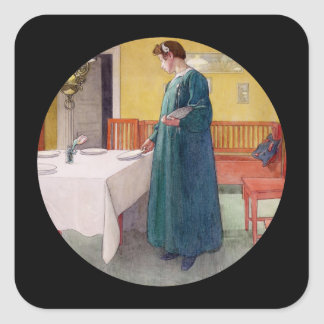Mother Setting the Dining Room Table Square Sticker