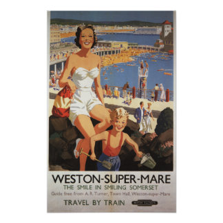 Mother Son on Beach Railway Poster