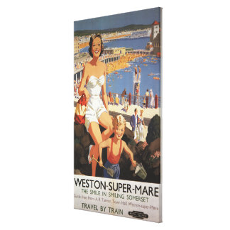 Mother Son on Beach Railway Poster Gallery Wrapped Canvas