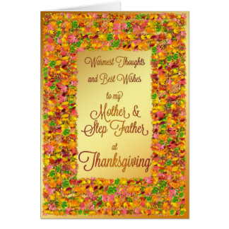 Mother stepfather Thanksgiving fall leaves Cards