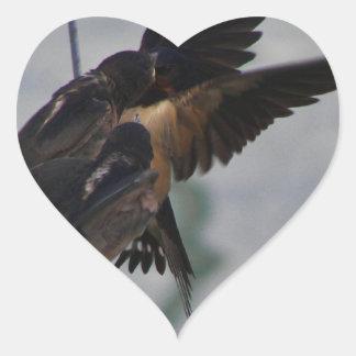 Mother swallow heart sticker
