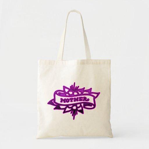 Mother Tattoo Design Purple & Pink Budget Tote Bag