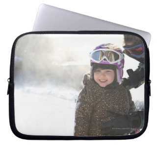 Mother Teaching Daughter To Snowboard Computer Sleeve