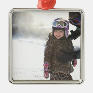 Mother Teaching Daughter To Snowboard Metal Ornament