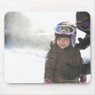 Mother Teaching Daughter To Snowboard Mousepad