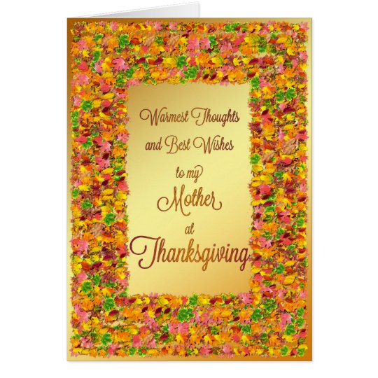 Mother, Thanksgiving, fall leaves Card