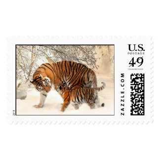 Mother Tiger and Cub in the Snowy Woods Postage