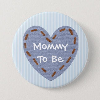 Mother to be blue & Brown Heart Baby Shower Button