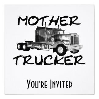 """MOTHER TRUCKER - BLACK & WHITE 5.25"""" SQUARE INVITATION CARD"""