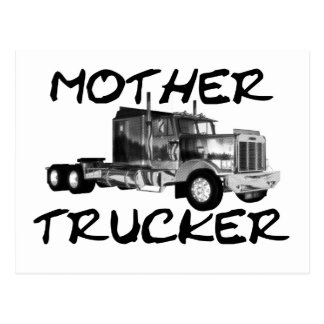 MOTHER TRUCKER - BLACK & WHITE POSTCARD