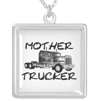 MOTHER TRUCKER - BLACK & WHITE SILVER PLATED NECKLACE
