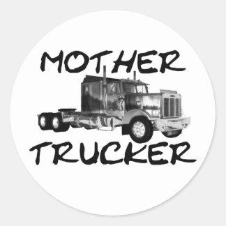 MOTHER TRUCKER - BLACK & WHITE CLASSIC ROUND STICKER