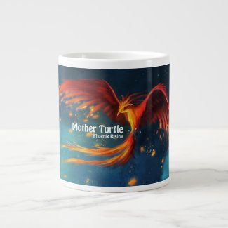 Mother Turtle Phoenix Rising Mug 20 Oz Large Ceramic Coffee Mug