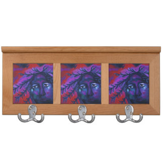 Mother Watching All Abstract Red Violet Compassion Coat Rack