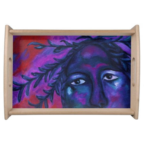 Mother Watching All Abstract Red Violet Compassion Serving Tray