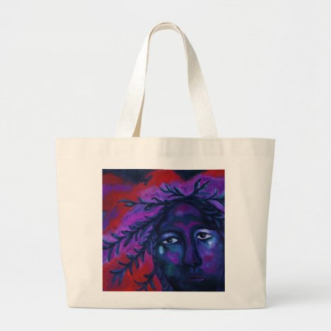 Mother Watching All – Crimson & Violet Compassion Large Tote Bag