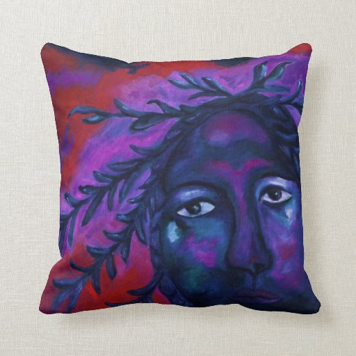 Mother Watching All – Crimson & Violet Compassion Throw Pillows