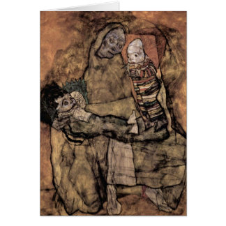 Mother With Two Children By Egon Schiele Cards
