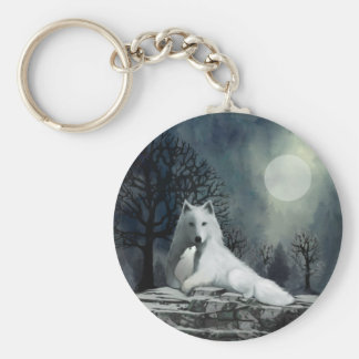 Mother Wolf and Pup Snuggle Basic Round Button Keychain