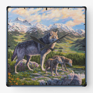 Mother Wolf and Pups Square Wall Clock