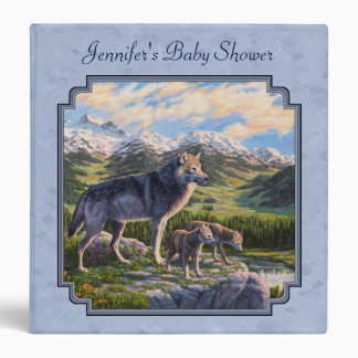 Mother Wolf and Pups Sky Blue Binder