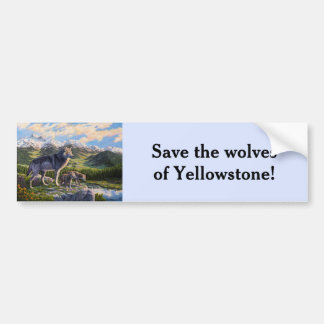 Mother Wolf and Pups Sky Blue Bumper Sticker