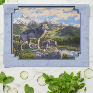 Mother Wolf and Pups Sky Blue Kitchen Towel