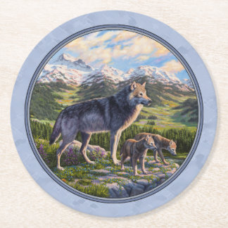 Mother Wolf and Pups Sky Blue Round Paper Coaster