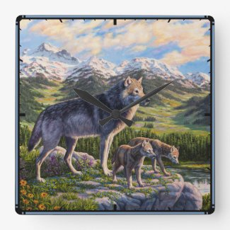 Mother Wolf and Pups Wallclock