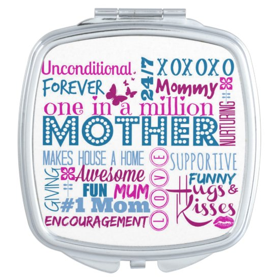MOTHER Word Art Compact Mirror