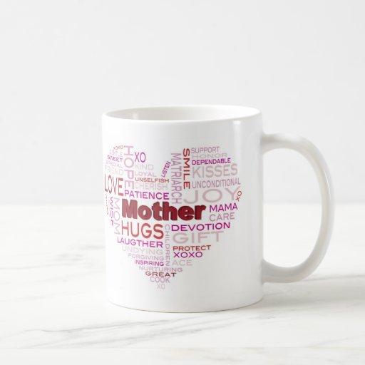 Mother Word Cloud in Heart Shape Mug