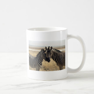 Mother zebra and young zebra mugs
