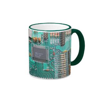 Motherboard, circuit board photo, computer nerd ringer mug