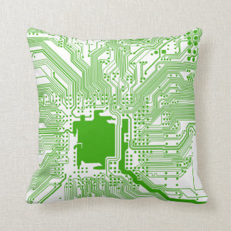 motherboard computer circuit square pillow-green 3 throw pillow