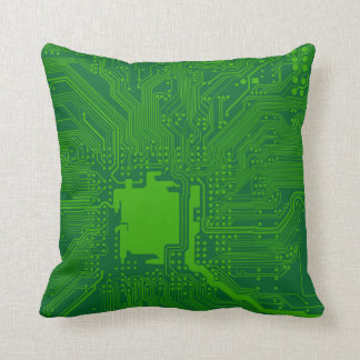 motherboard computer circuit square pillow-green 4 throw pillow