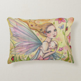 Motherhood Fairy Mother and Baby Illustration Decorative Pillow