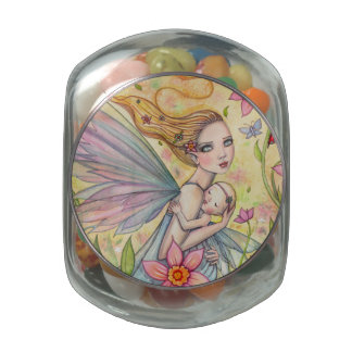 Motherhood Fairy Mother and Baby Illustration Glass Candy Jar
