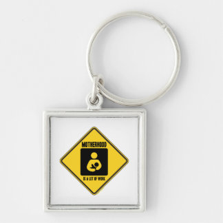 Motherhood Is A Lot Of Work (Yellow Warning Sign) Silver-Colored Square Keychain