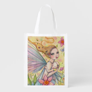Motherhood Mother and Baby Fairy Illustration Grocery Bag