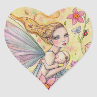 Motherhood Sweet Mother and Baby Fairy Painting Heart Sticker