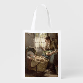 Motherly Affection (oil on canvas) Grocery Bags